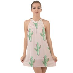 Green Cactus Pattern Halter Tie Back Chiffon Dress by AnjaniArt
