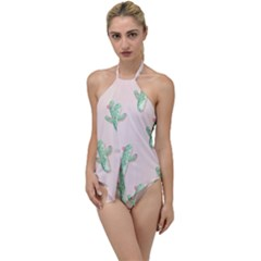 Green Cactus Pattern Go With The Flow One Piece Swimsuit