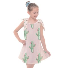 Green Cactus Pattern Kids  Tie Up Tunic Dress