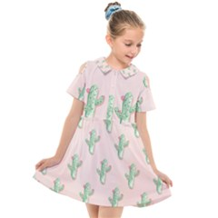 Green Cactus Pattern Kids  Short Sleeve Shirt Dress