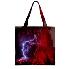 Fire Volcano Lightning Montain Wallpapers Grocery Tote Bag
