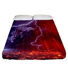 Fire Volcano Lightning Montain Wallpapers Fitted Sheet (king Size)
