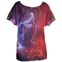 Fire Volcano Lightning Montain Wallpapers Women s Oversized Tee by AnjaniArt