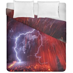Fire Volcano Lightning Montain Wallpapers Duvet Cover Double Side (california King Size) by AnjaniArt
