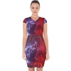 Fire Volcano Lightning Montain Wallpapers Capsleeve Drawstring Dress