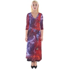 Fire Volcano Lightning Montain Wallpapers Quarter Sleeve Wrap Maxi Dress by AnjaniArt