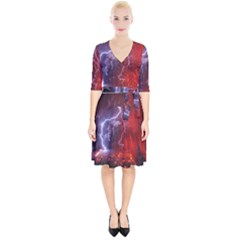 Fire Volcano Lightning Montain Wallpapers Wrap Up Cocktail Dress
