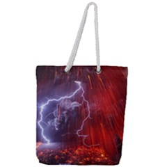 Fire Volcano Lightning Montain Wallpapers Full Print Rope Handle Tote (large) by AnjaniArt
