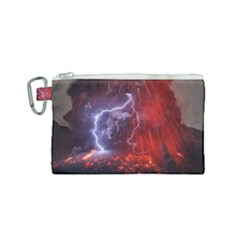 Fire Volcano Lightning Montain Wallpapers Canvas Cosmetic Bag (small)