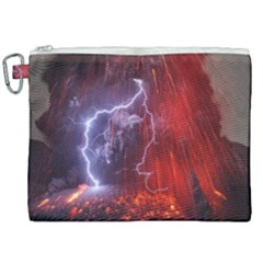 Fire Volcano Lightning Montain Wallpapers Canvas Cosmetic Bag (xxl) by AnjaniArt