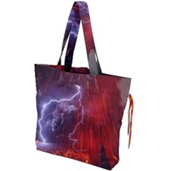 Fire Volcano Lightning Montain Wallpapers Drawstring Tote Bag by AnjaniArt