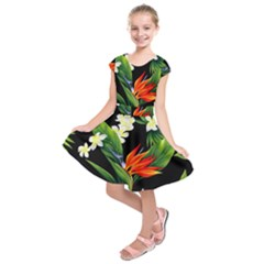 Frangipani Flower Kids  Short Sleeve Dress