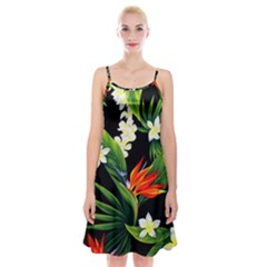 Frangipani Flower Spaghetti Strap Velvet Dress