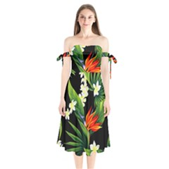 Frangipani Flower Shoulder Tie Bardot Midi Dress by AnjaniArt