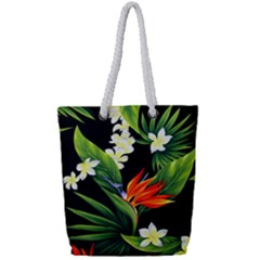 Frangipani Flower Full Print Rope Handle Tote (small) by AnjaniArt
