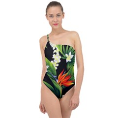 Frangipani Flower Classic One Shoulder Swimsuit
