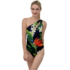 Frangipani Flower To One Side Swimsuit