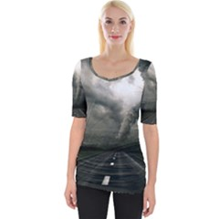 Hurricane Wide Neckline Tee by AnjaniArt