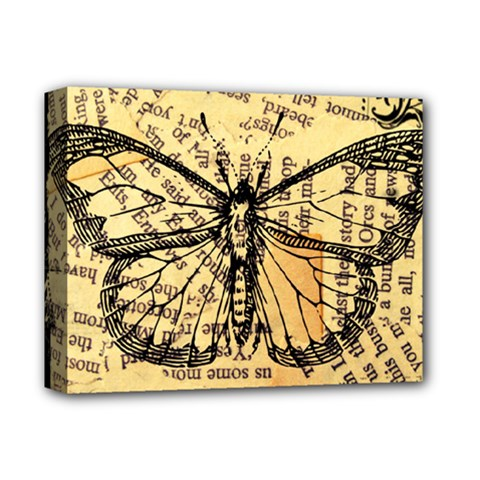 Vintage Butterfly Art Antique Deluxe Canvas 14  X 11  (stretched) by AnjaniArt