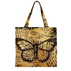 Vintage Butterfly Art Antique Zipper Grocery Tote Bag