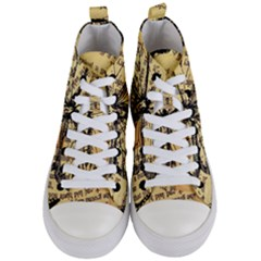Vintage Butterfly Art Antique Women s Mid Top Canvas Sneakers