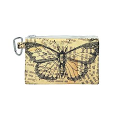 Vintage Butterfly Art Antique Canvas Cosmetic Bag (small) by AnjaniArt