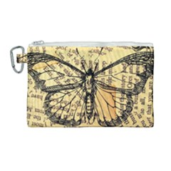 Vintage Butterfly Art Antique Canvas Cosmetic Bag (large) by AnjaniArt