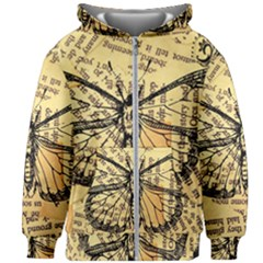 Vintage Butterfly Art Antique Kids Zipper Hoodie Without Drawstring