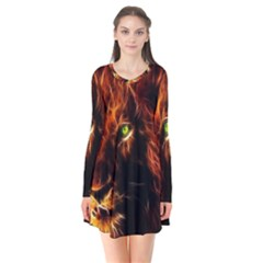 King Lion Wallpaper Animals Long Sleeve V Neck Flare Dress by AnjaniArt