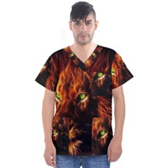 King Lion Wallpaper Animals Men s V Neck Scrub Top