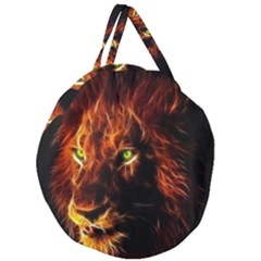 King Lion Wallpaper Animals Giant Round Zipper Tote