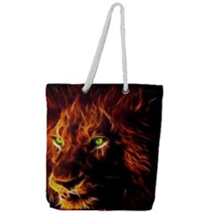 King Lion Wallpaper Animals Full Print Rope Handle Tote (large)