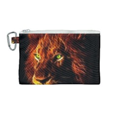 King Lion Wallpaper Animals Canvas Cosmetic Bag (medium) by AnjaniArt