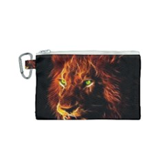 King Lion Wallpaper Animals Canvas Cosmetic Bag (small) by AnjaniArt