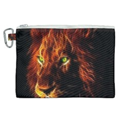 King Lion Wallpaper Animals Canvas Cosmetic Bag (xl) by AnjaniArt