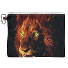 King Lion Wallpaper Animals Canvas Cosmetic Bag (xxl) by AnjaniArt