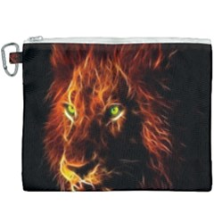 King Lion Wallpaper Animals Canvas Cosmetic Bag (xxxl) by AnjaniArt