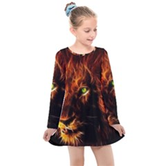 King Lion Wallpaper Animals Kids  Long Sleeve Dress by AnjaniArt