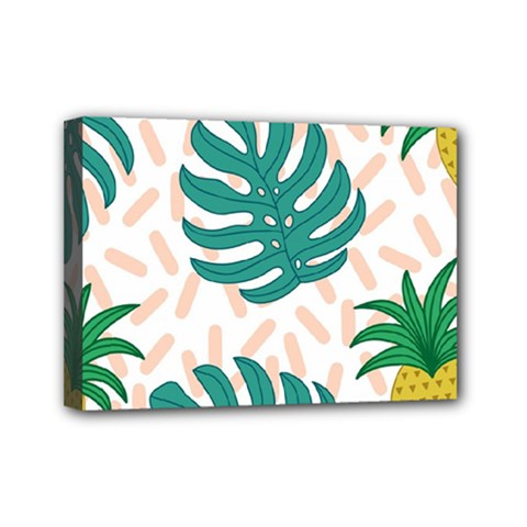 Green Leaf Fruite Pineapples Mini Canvas 7  X 5  (stretched) by AnjaniArt