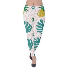 Green Leaf Fruite Pineapples Velvet Leggings