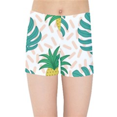 Green Leaf Fruite Pineapples Kids Sports Shorts