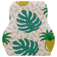 Green Leaf Fruite Pineapples Car Seat Velour Cushion  by AnjaniArt
