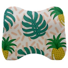 Green Leaf Fruite Pineapples Velour Head Support Cushion by AnjaniArt