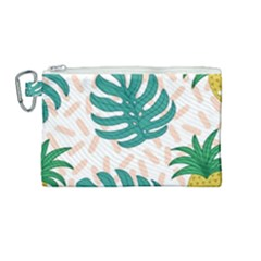 Green Leaf Fruite Pineapples Canvas Cosmetic Bag (medium) by AnjaniArt