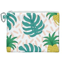 Green Leaf Fruite Pineapples Canvas Cosmetic Bag (xxl) by AnjaniArt