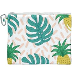 Green Leaf Fruite Pineapples Canvas Cosmetic Bag (xxxl) by AnjaniArt