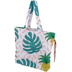 Green Leaf Fruite Pineapples Drawstring Tote Bag by AnjaniArt
