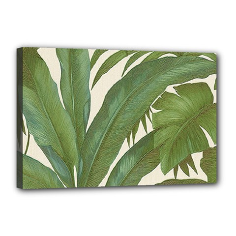 Green Palm Leaf Wallpaper Canvas 18  X 12  (stretched)