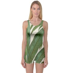 Green Palm Leaf Wallpaper One Piece Boyleg Swimsuit