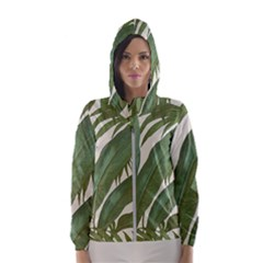 Green Palm Leaf Wallpaper Hooded Windbreaker (women)
